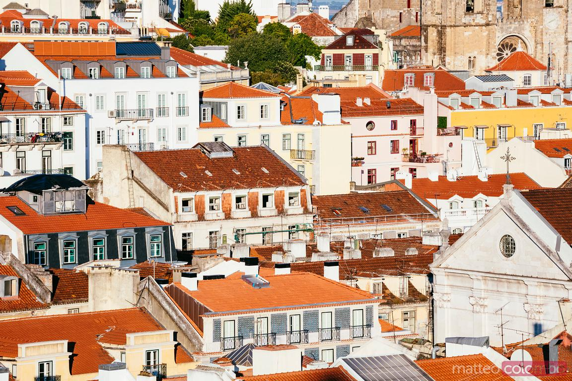 Typical portuguese houses in the old town, Lisbon, Portugal