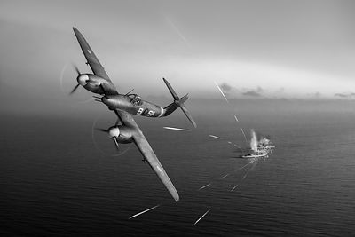 Westland Whirlwind attacking E-boats black and white version