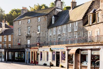 Quaint houses and twin level street in North Queensferry, Scotland