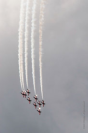 #052359,  RAF's Red Arrows display team at the Farnborough International Airshow.  2009.
