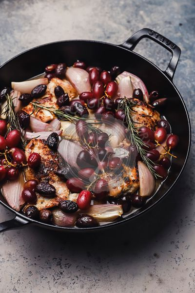 baked chicken with rosemary grapes and olives
