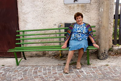 070911-21_Majella_202 A woman from Caporciano di Bominaco relax in the afternoon sun.