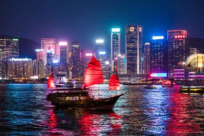 Old chinese junk sail at night, Hong Kong harbour