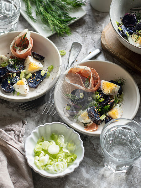 Purple potato salad with prosciutto