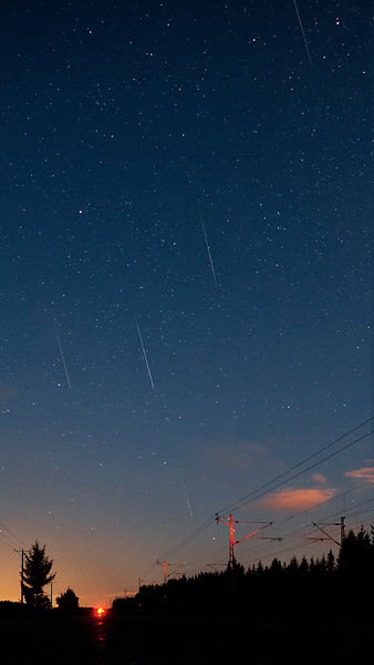 Five meteors belonging to the Perseid meteor shower. Photographed in southern FInland on August 14 2018 between 02.41 - 03.00...