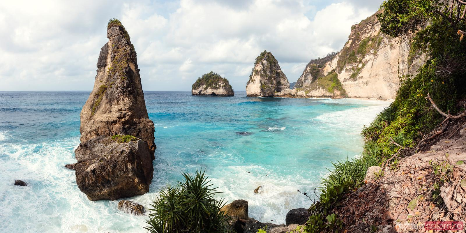 Diamond beach panoramic, Nusa Penida, Bali, Indonesia
