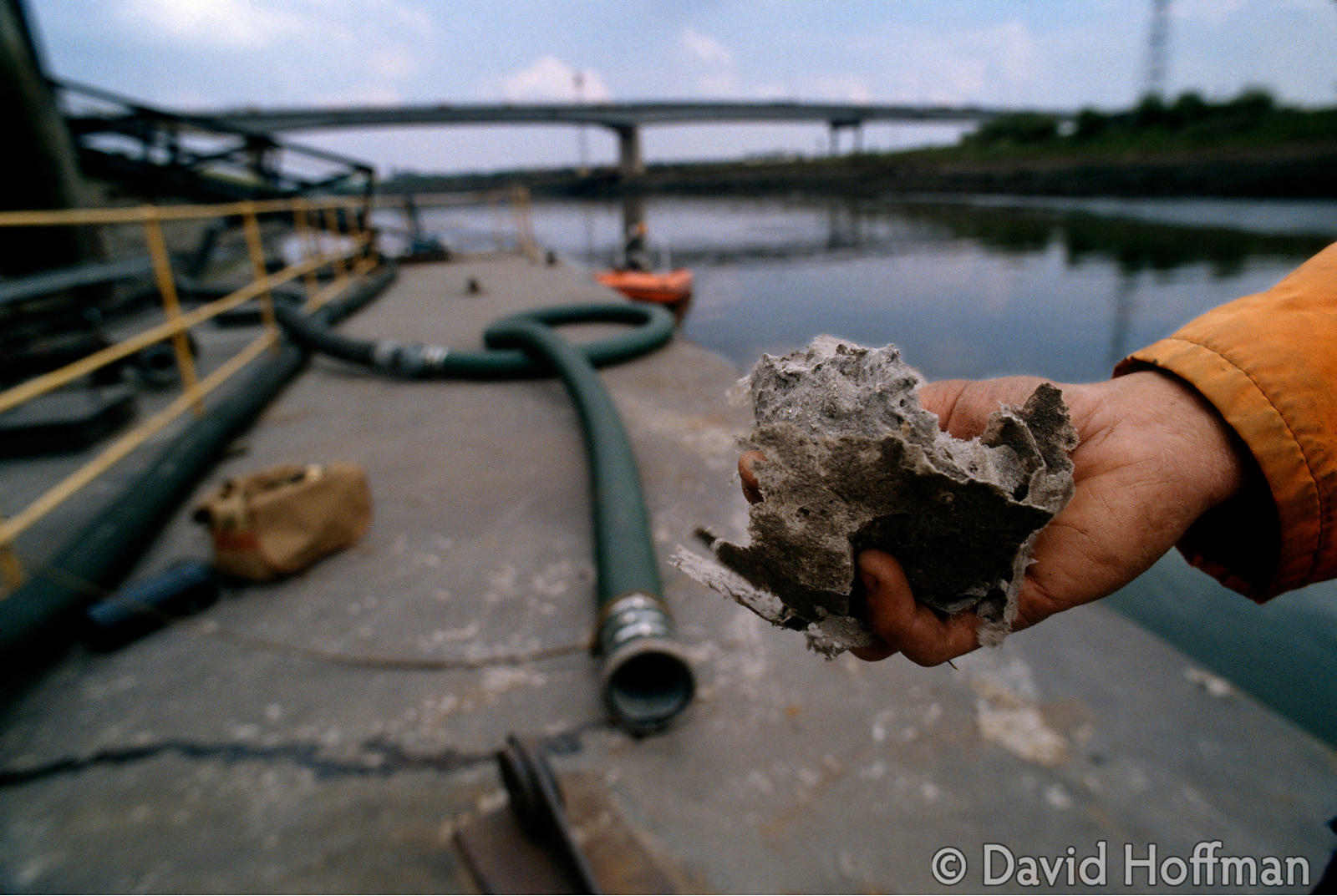 A handful of dried sewage deposited on this River Tees loading point.
