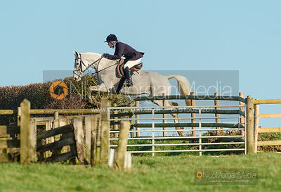 Chloe Jonason jumping a fence off Hades Lane. The Quorn Hunt at Fox Covert Farm 10/1
