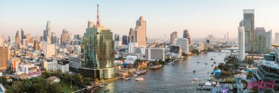 Panoramic of river and Bangkok skyline, Thailand
