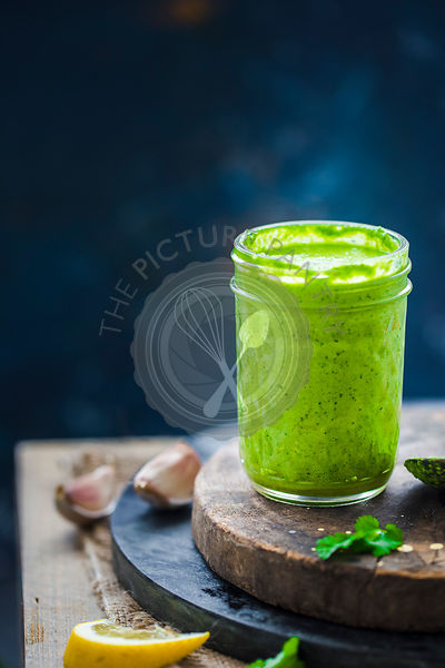 Cilantro Pesto sauce in a mason jar