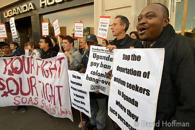 081009_Uganda_Gay_49 Peter Tatchell, 2nd from right, at a demonstration against human rights abuses and deportation of Uganda...