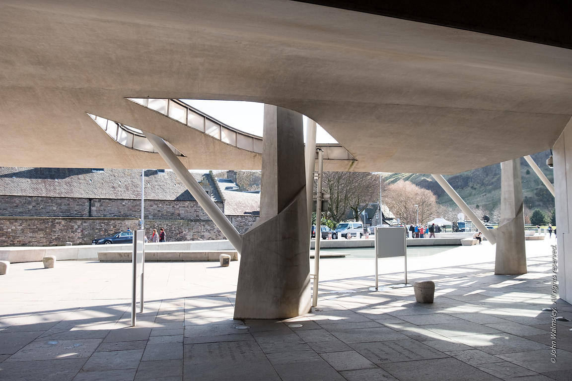 #122526,  Looking out from the Scottish Parliament building at Holyrood, Edinburgh.  Designed by Spanish architects, Enric Mi...