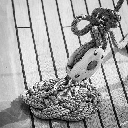 Classic yacht wall art of block, rope and wooden deck