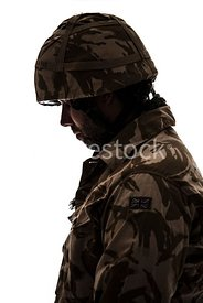 A British soldier - shot from eye level.
