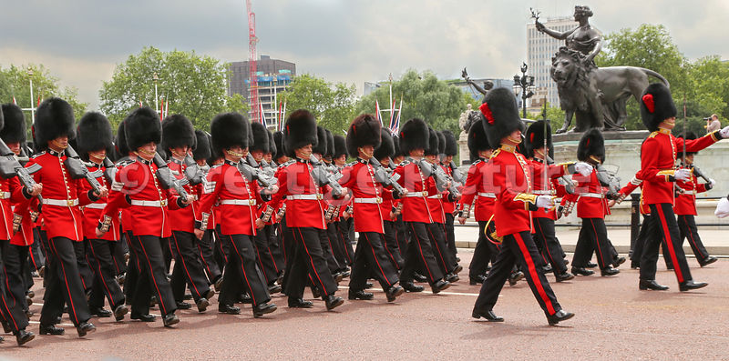 Coldstream Guardsmen March towards Buckingham Palace