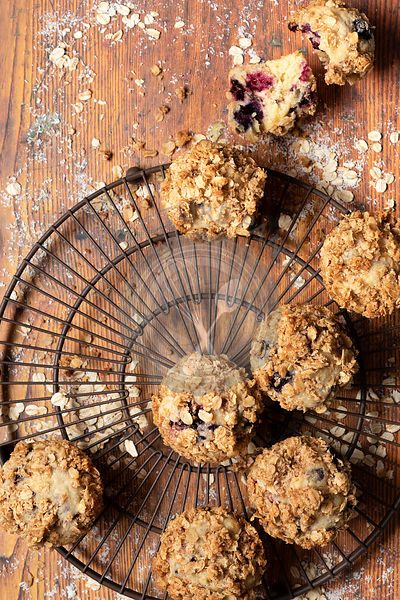 Homemade mixed berry muffins with oat crumble topping.