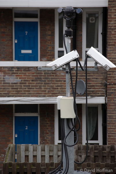 Video security cameras on a Hackney council estate.
