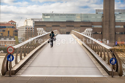 1 person on The Millennium Bridge during the Corona Virus outbreak