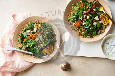 Lentil salad with honey-roasted carrots