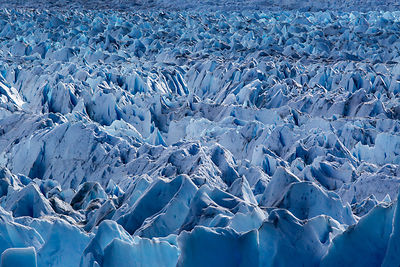 Blue ice fields of the Perito Moreno glaciar in Patagonia,  southern Argentina.