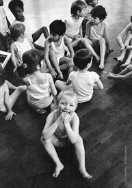 #77327,  Music and movement, exercises in the gym, Vittoria Primary School, Islington, London.  1970.