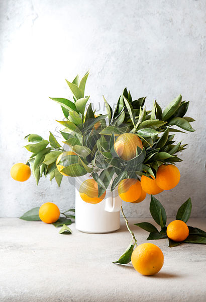 Orange tree branches bouquet with orange fruits in white jar