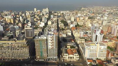 Dakar city center from above, travelling in