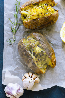 Twice baked potatoes with scallions