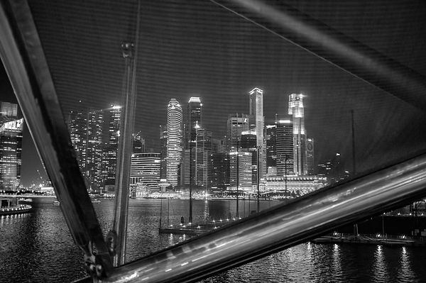 Night view of Downtown Singapore's skyline form Marina Bay. Singapore.