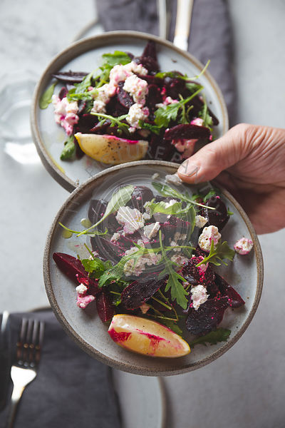 Beetroot salad with ricotta cheese, lemon and arugula
