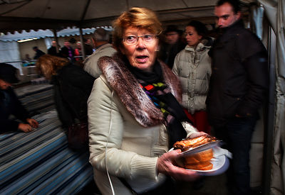Customer at the Herring Festival, celebrating the fishing industry in Boulogne-sur-Mer, France.