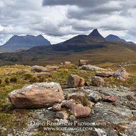 Image - Stac Pollaidh, Inverpolly, Wester Ross, Highland, Scotland with erratic boulder