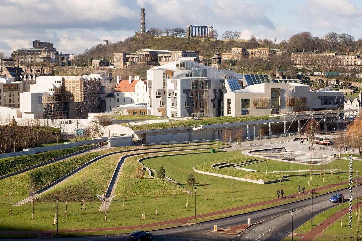 #027666,  Scottish Parliament building at Holyrood, Edinburgh.  Designed by Spanish architects, Enric Miralles & Benedetta Ta...