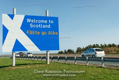 Image - Welcome to Scotland border sign on the A1, vehicle