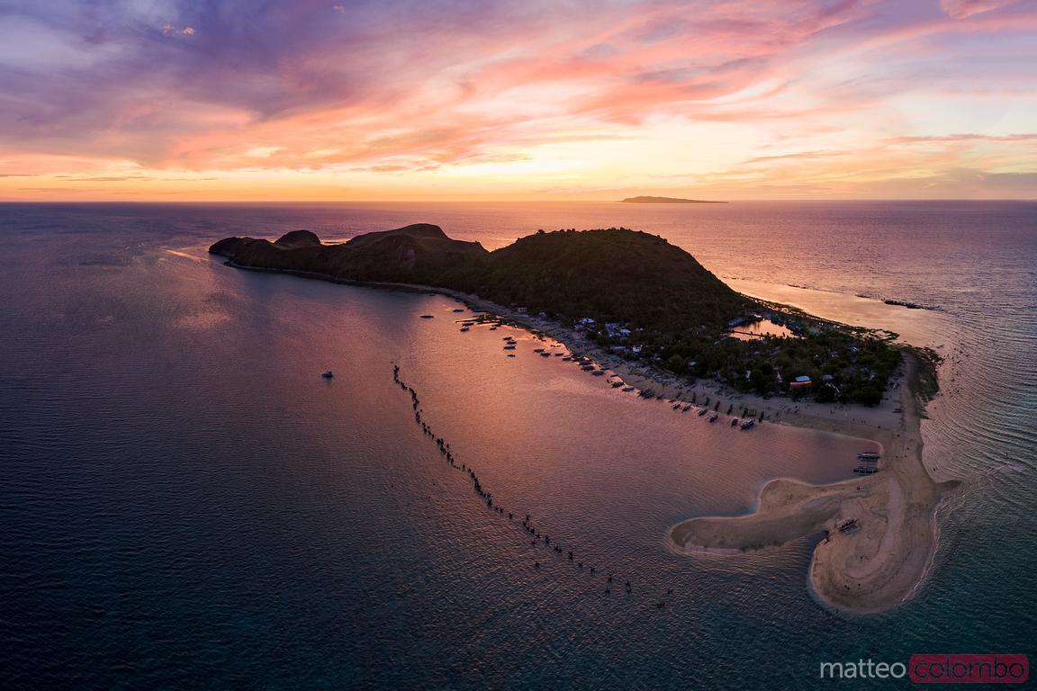 Sunset over Mararison island, aerial view, Philippines