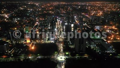 Nairobi by night from above, drone view