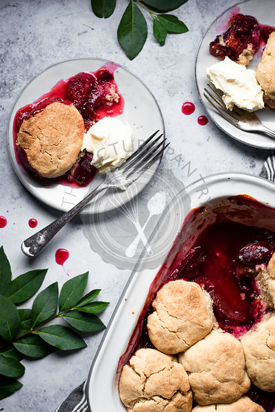 Plum And Ginger Cobbler