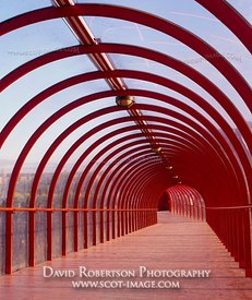 Image - Red, arched covered walkway, Glasgow