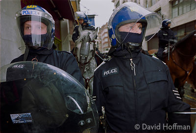 01050101-22a Police at the Mayday protests, central London, 2001.