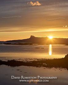 Prints & Stock Image - Sunset over the Isle of Eigg in the Small Isles, viewed from the Rhu Peninsula, Arisaig, Lochaber, Hig...