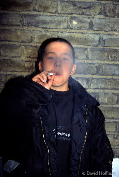 13 year old youth smoking outside youth club. Model released. © David Hoffman phone +44 (0)20 8981 5041, fax +44 (0)20 8980 2...
