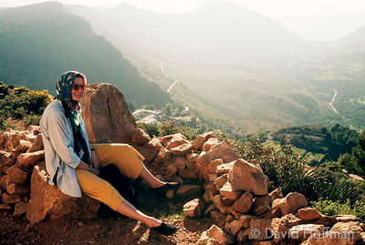 Annie in the mountains. Essouaria, Morocco. 1991