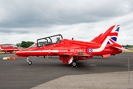 #120967,  BAE Systems Hawk Trainers flown by the RAF's Red Arrows display team at the Farnborough Air Show, 2016.