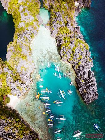 Aerial view of small lagoon, El Nido, Philippines