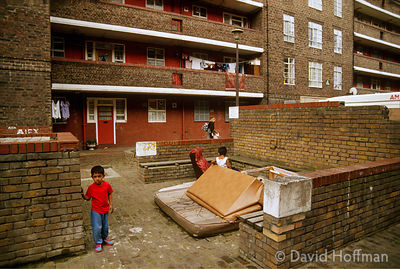 Kingsmead Estate, Hackney, London 1991. Neglected by the local authority this became a sink estate occupied by the poorest re...
