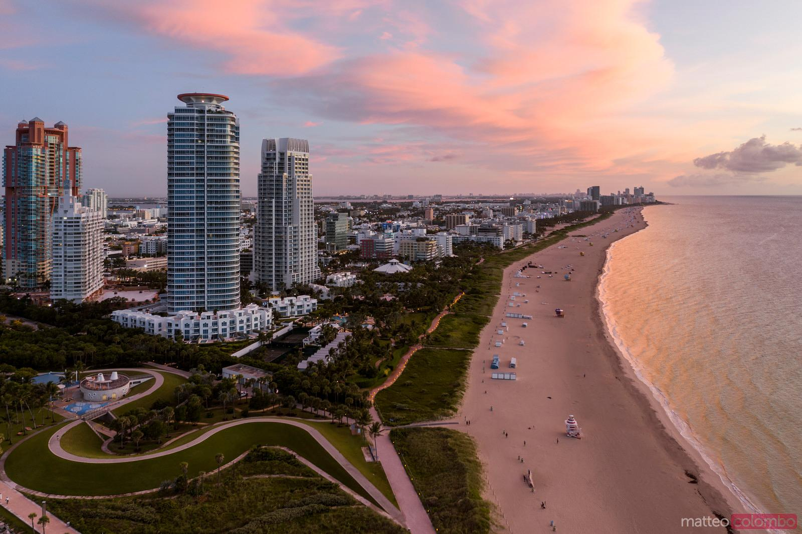 Aerial view of South beach at sunset, Miami, Florida, USA