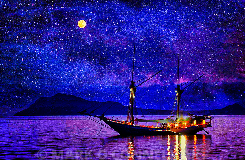 art,painting,airbrush,stars,boat,moon,phinisi,indonesia,fishing,water,ocean,sea,galaxy