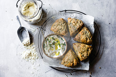 Herb and cheese scones with garlic dip.