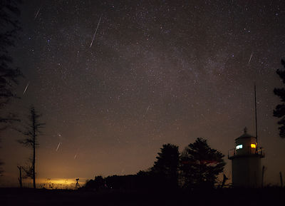 Quadrantid meteor shower - 8 meteors above southern Finland on Jan 4 2020. Composite image.