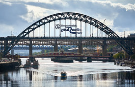 NEWCASTLE UPON TYNE, ENGLAND, UK - SEPTEMBER 09, 2019: Views of the Tyne, Swing and High Level Bridges over the river tyne wi...